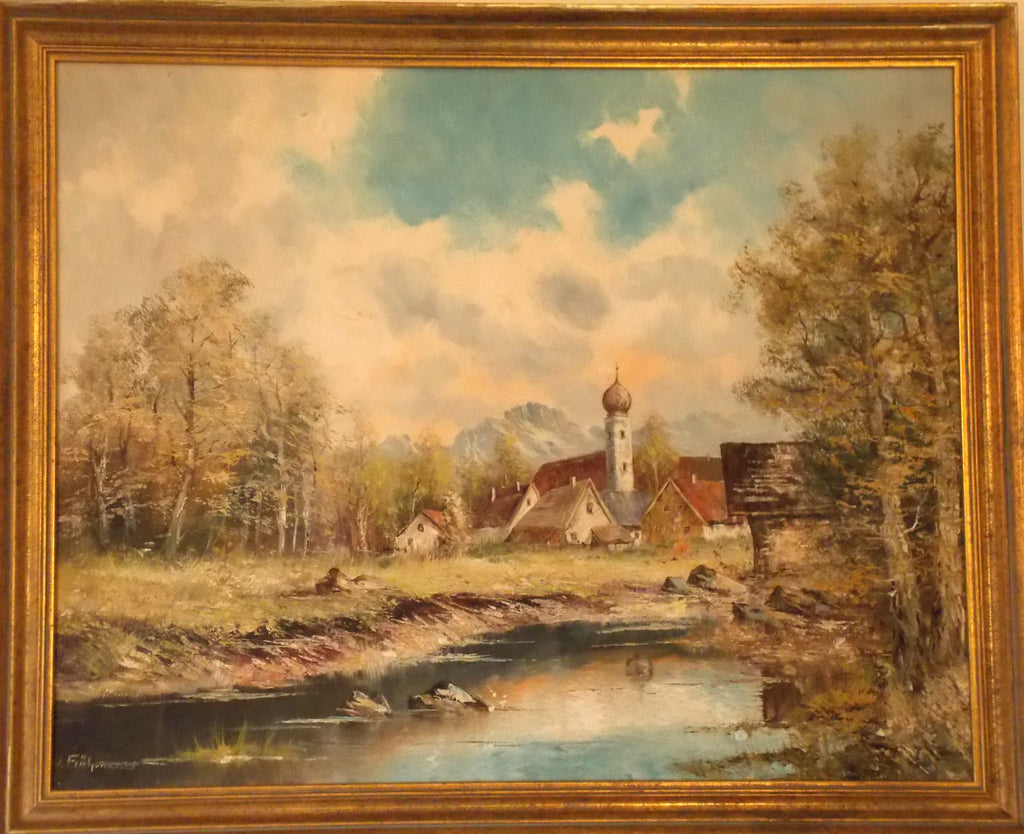 Joseph Fruhmesser oil painting of a Bavarian village scene