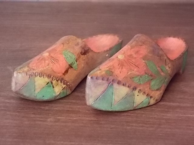 Set of miniature wooden shoes from Helsingborg, Sweden
