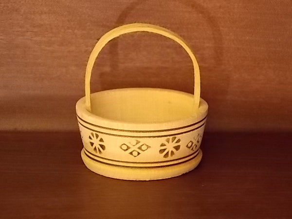 Miniature wooden Russian basket with handle