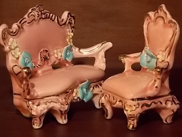 Vintage porcelain dollhouse furniture set