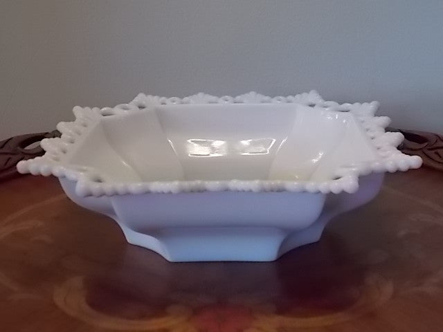 Vintage Westmoreland Glass Bowl - Ring and Petal - Milk Glass
