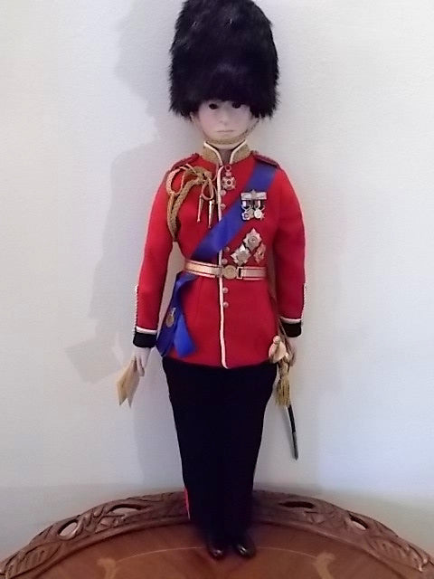 Prince Philip porcelain doll made in the Williamsburg Virginia Doll Factory by Marget Anne Rothwell