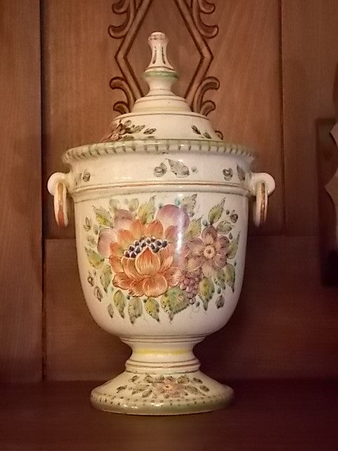 Hand painted vase made by P. V. Italy Pottery