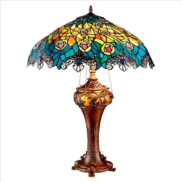 Peacock Stained Glass Lamp