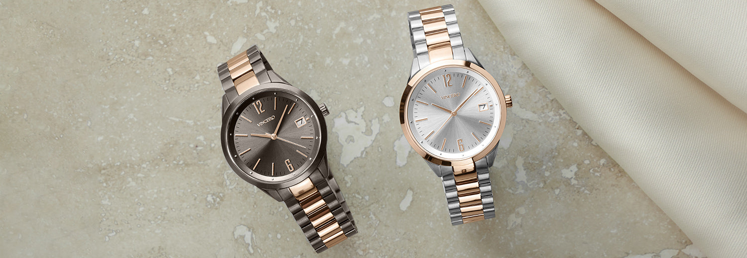 Two stainless steel watches in dark khaki with rose gold and silver rose gold