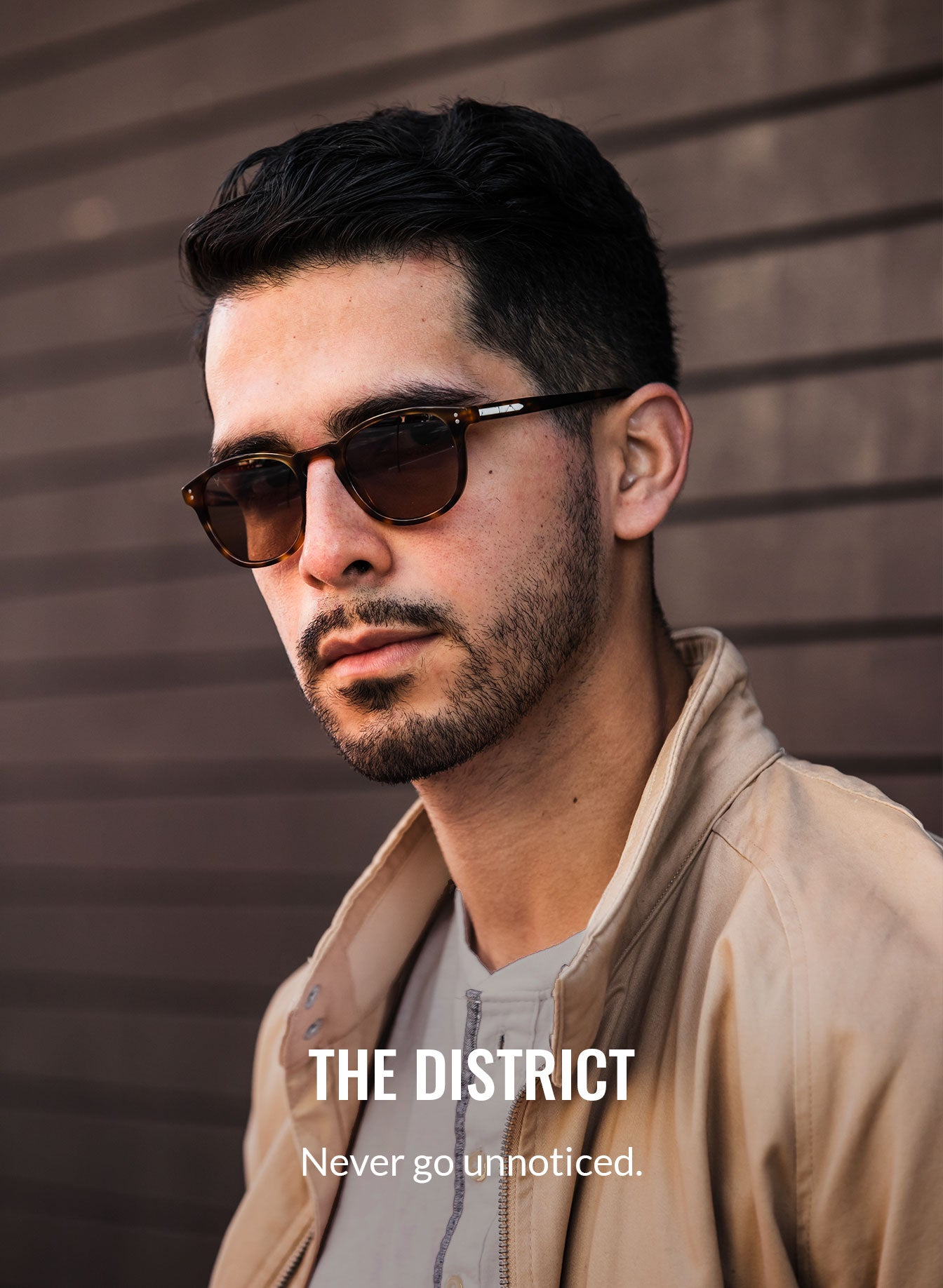 Man wearing light cedar color sunglasses