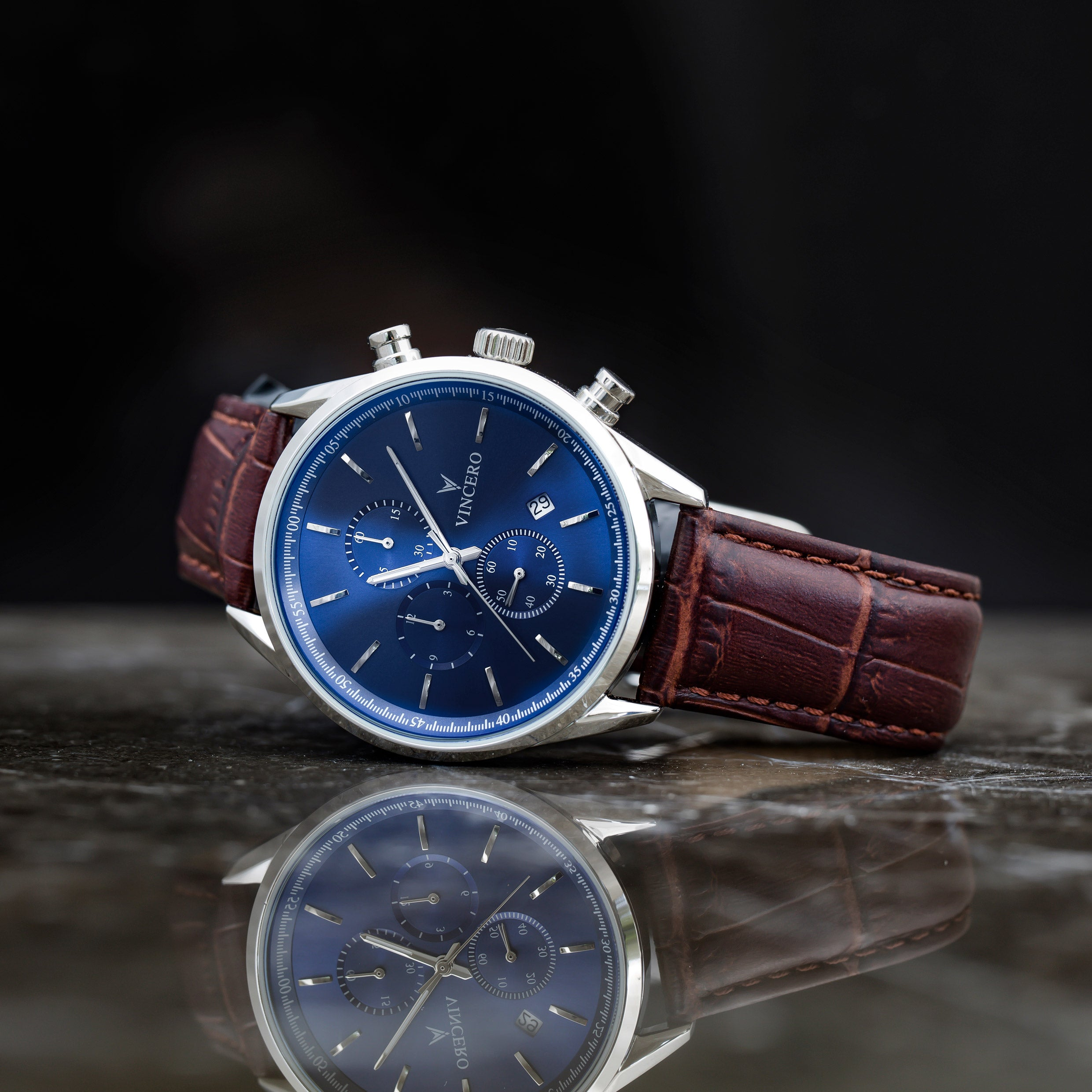 men s chronograph blue brown vincero watches