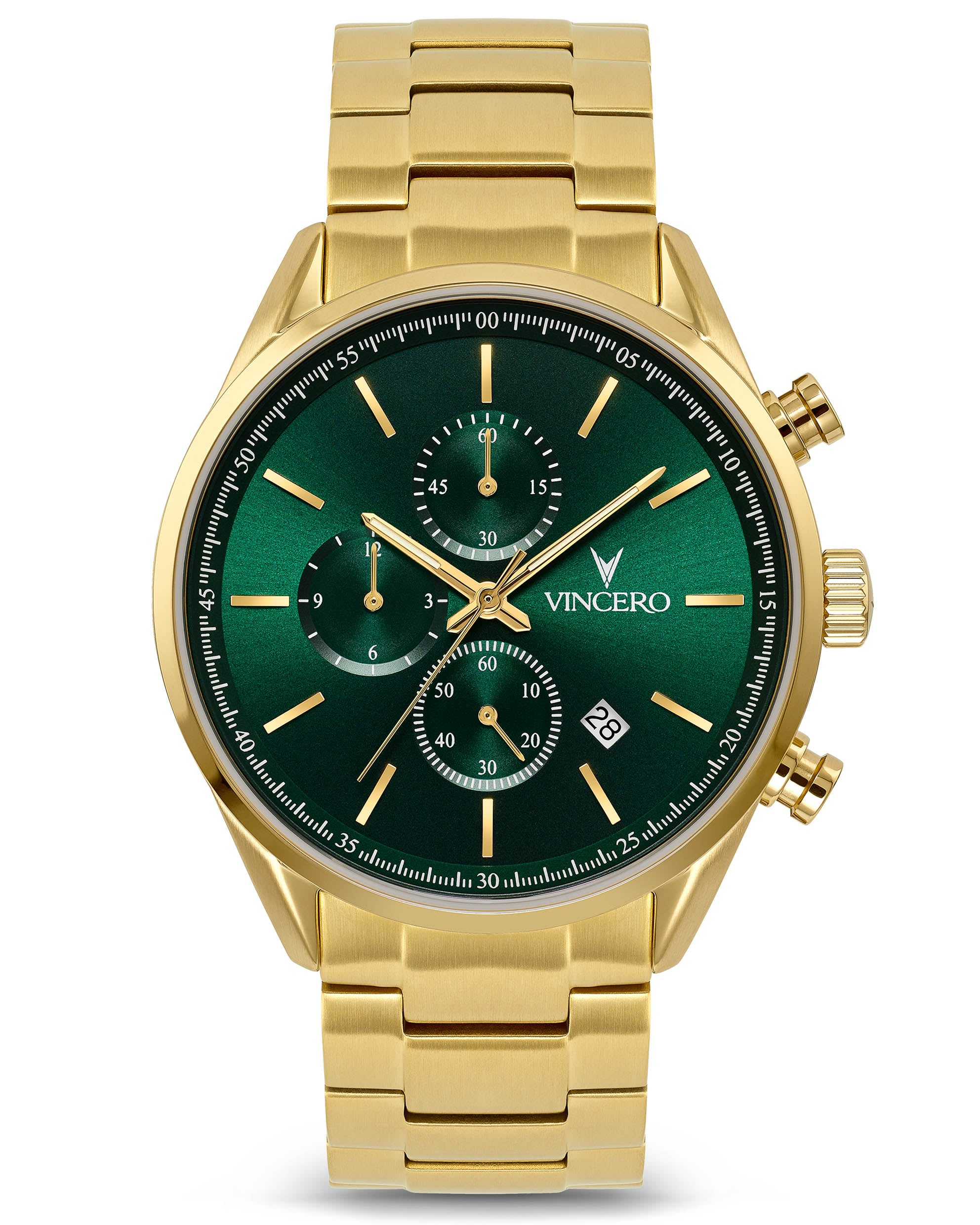 Chrono S 40mm Brown 316L Stainless Steel Strap Green Watch Face Gold Case Clasp Gold Accents