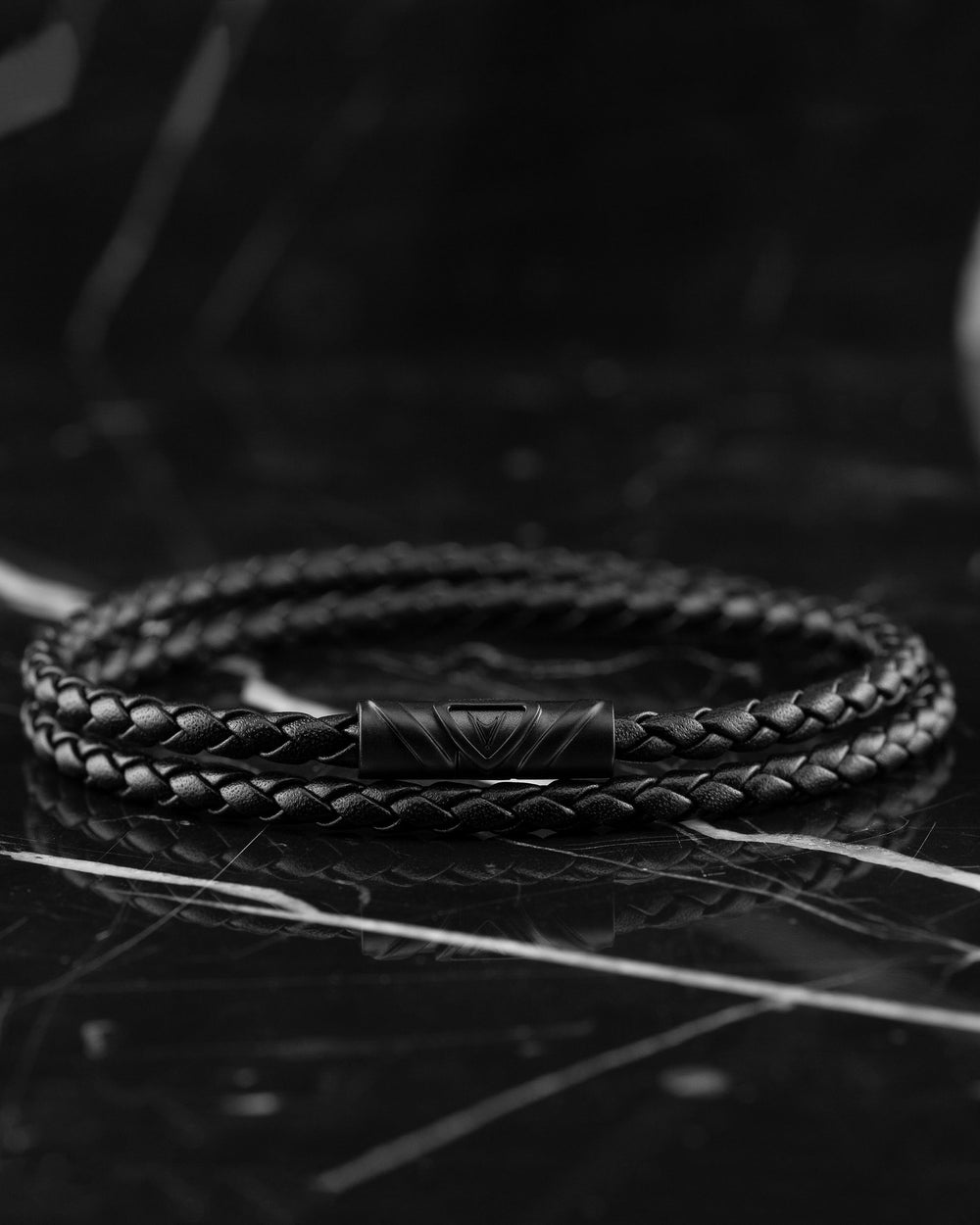 Men's Luxury Black Italian Leather Double Braided Bracelet Strap with a Matte Black Clasp