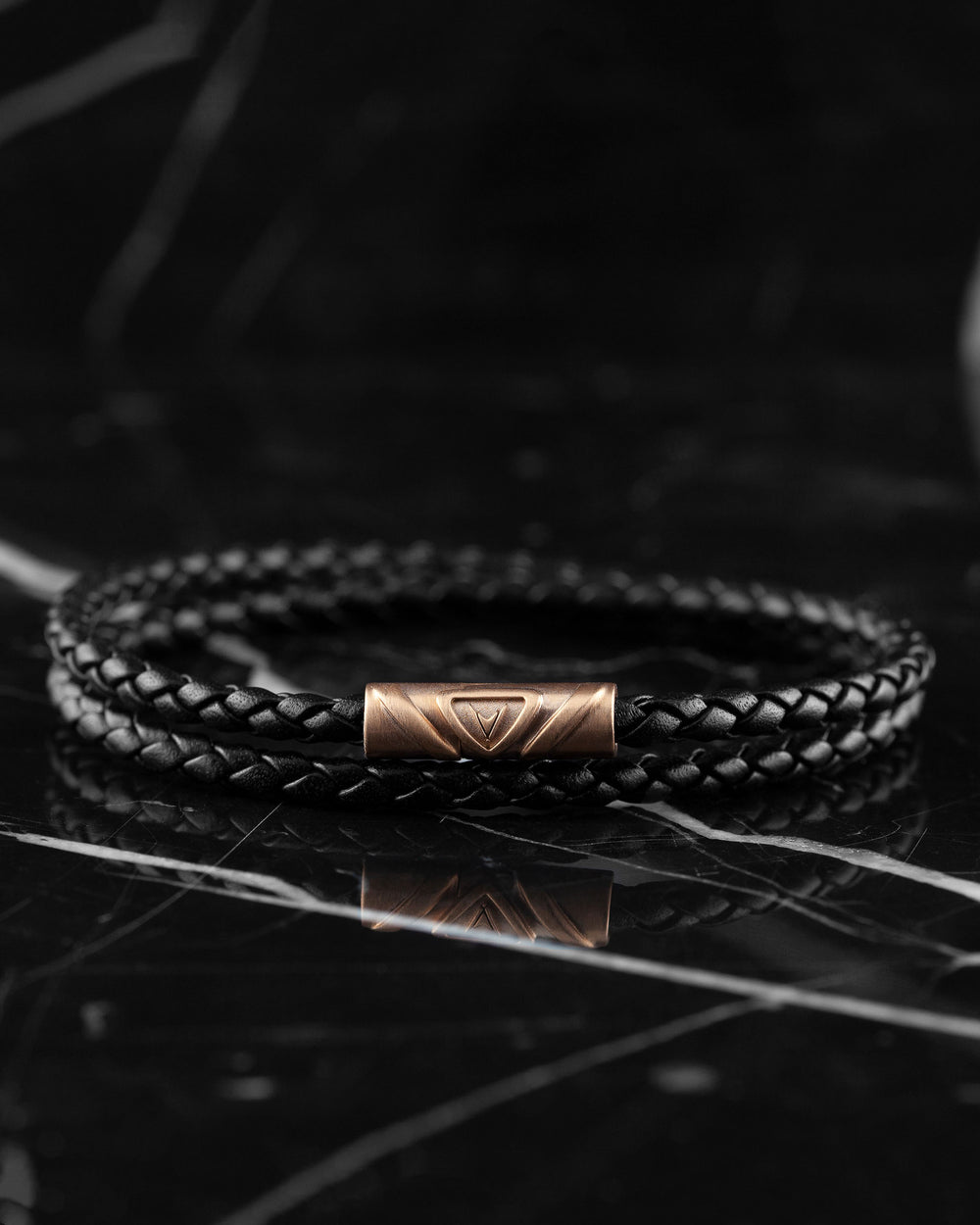 Men's Luxury Black Italian Leather Double Braided Bracelet Strap with a Rose Gold Clasp
