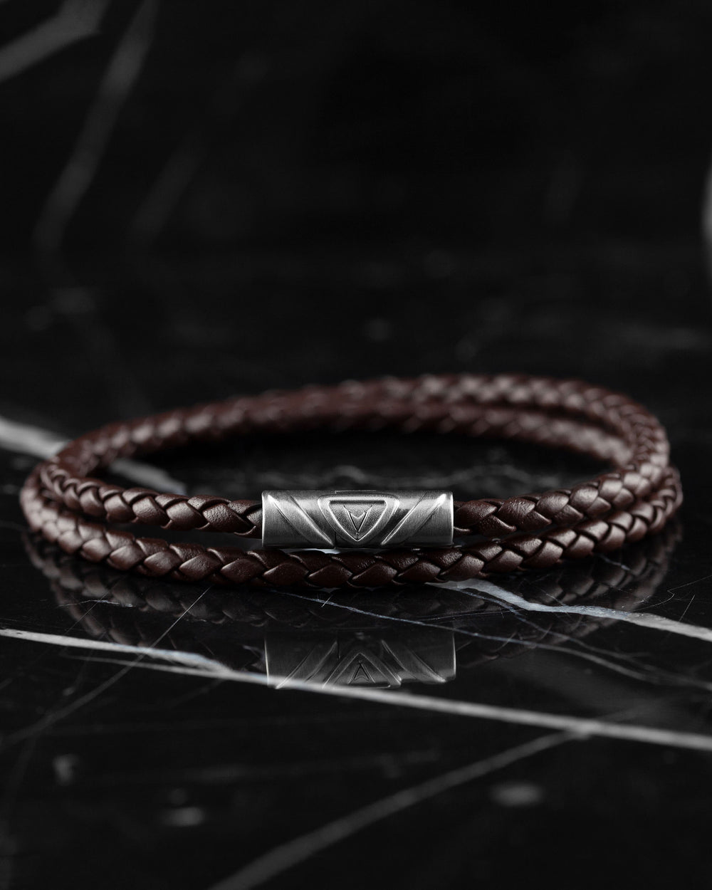 Men's Luxury Mocha Italian Leather Double Braided Bracelet Strap with a Silver Clasp