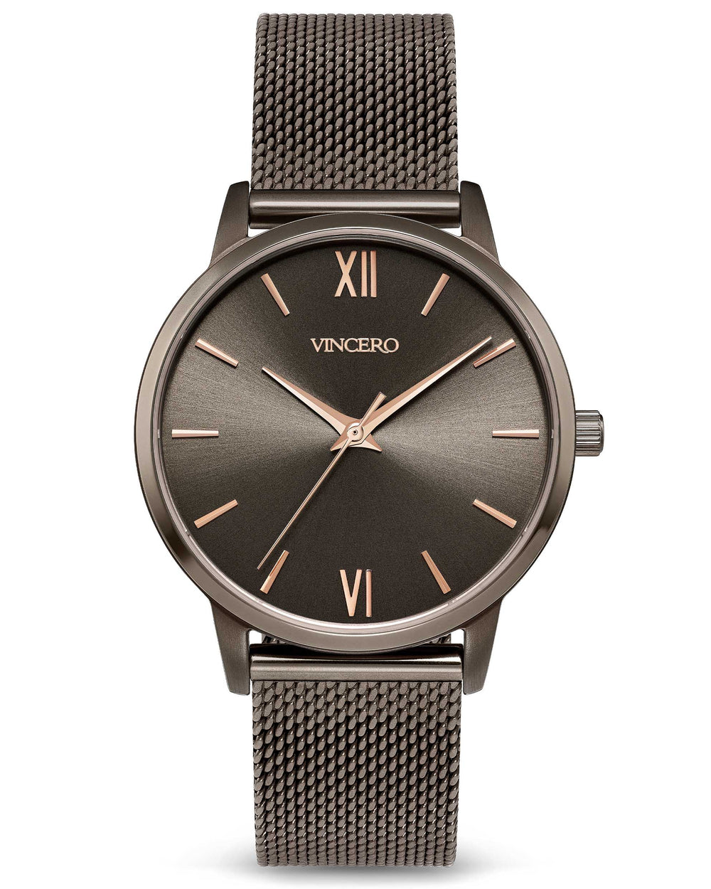 The Eros 33mm Dark Khaki 316L Stainless Steel Mesh Strap Dark Khaki Watch Face Dark Khaki Case Clasp Rose Gold Accents