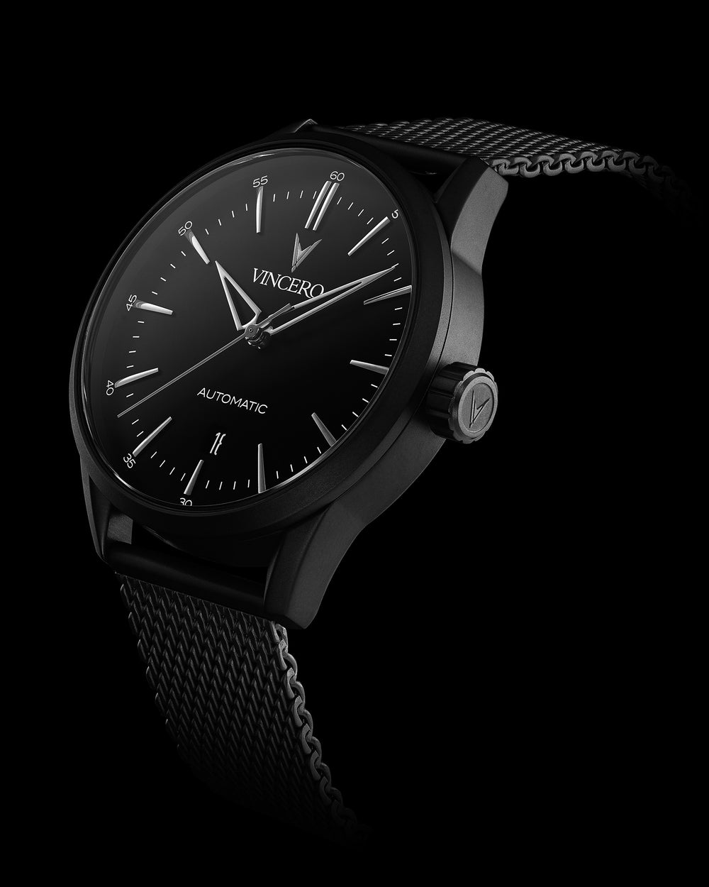 Icon Automatic Black 316L Stainless Steel Mesh Strap Black Watch Face Black Case Clasp Silver Accents