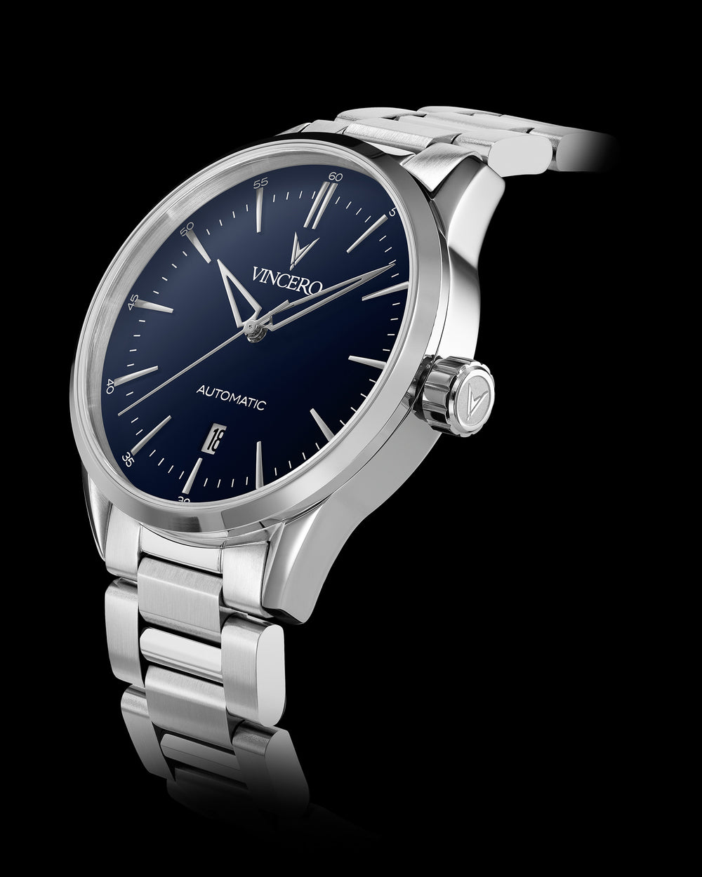 Icon Automatic Silver 316L Stainless Steel Strap Blue Watch Face Silver Case Clasp Silver Accents