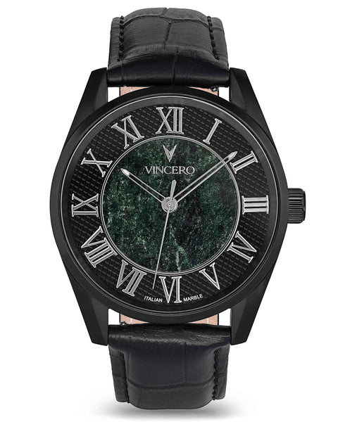 Men's Luxury Dress Watch Verde Green Italian Marble Face Black Croc Italian Leather Strap Silver Clasp