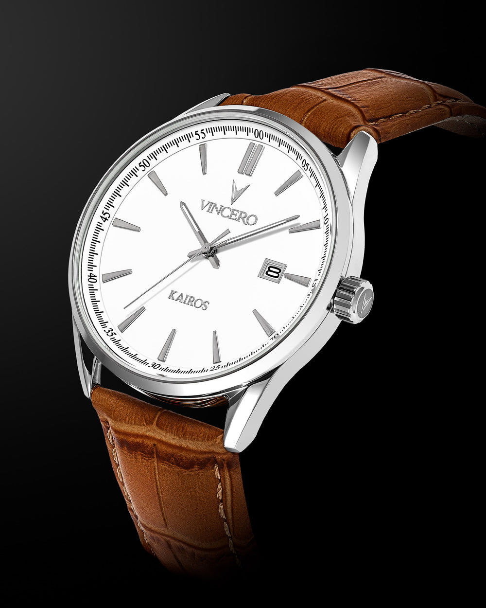 Kairos Tan Croc Italian Leather Strap White Watch Face Silver Case Clasp Silver Accents