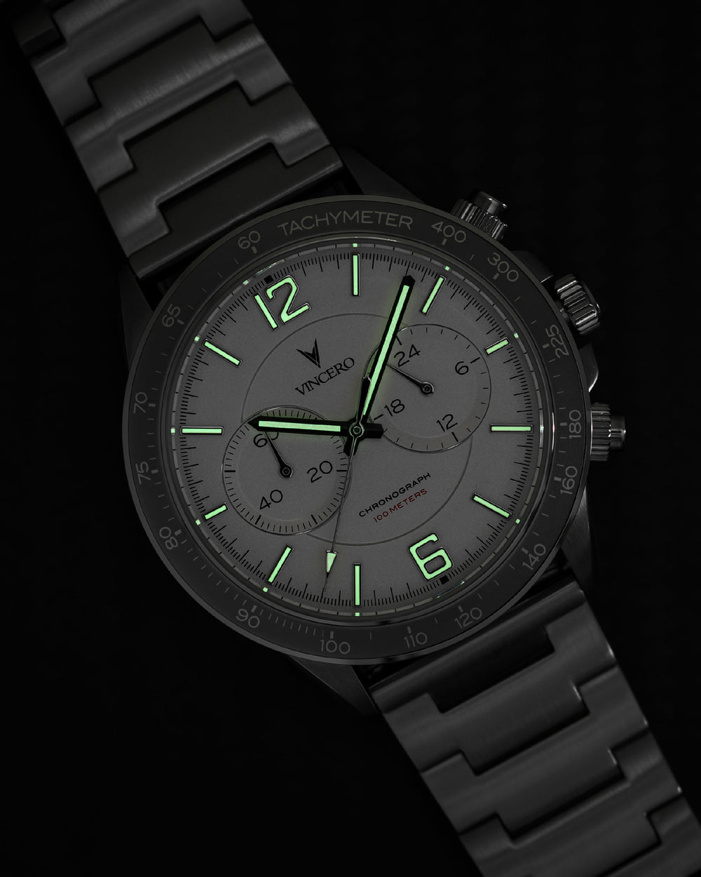 Vincero Apex Black with Swiss Luminous Hands & Indices