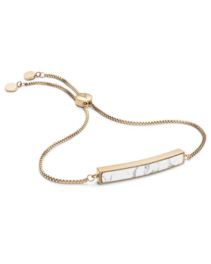 Marble Bar Bracelet - Gold + Carrara