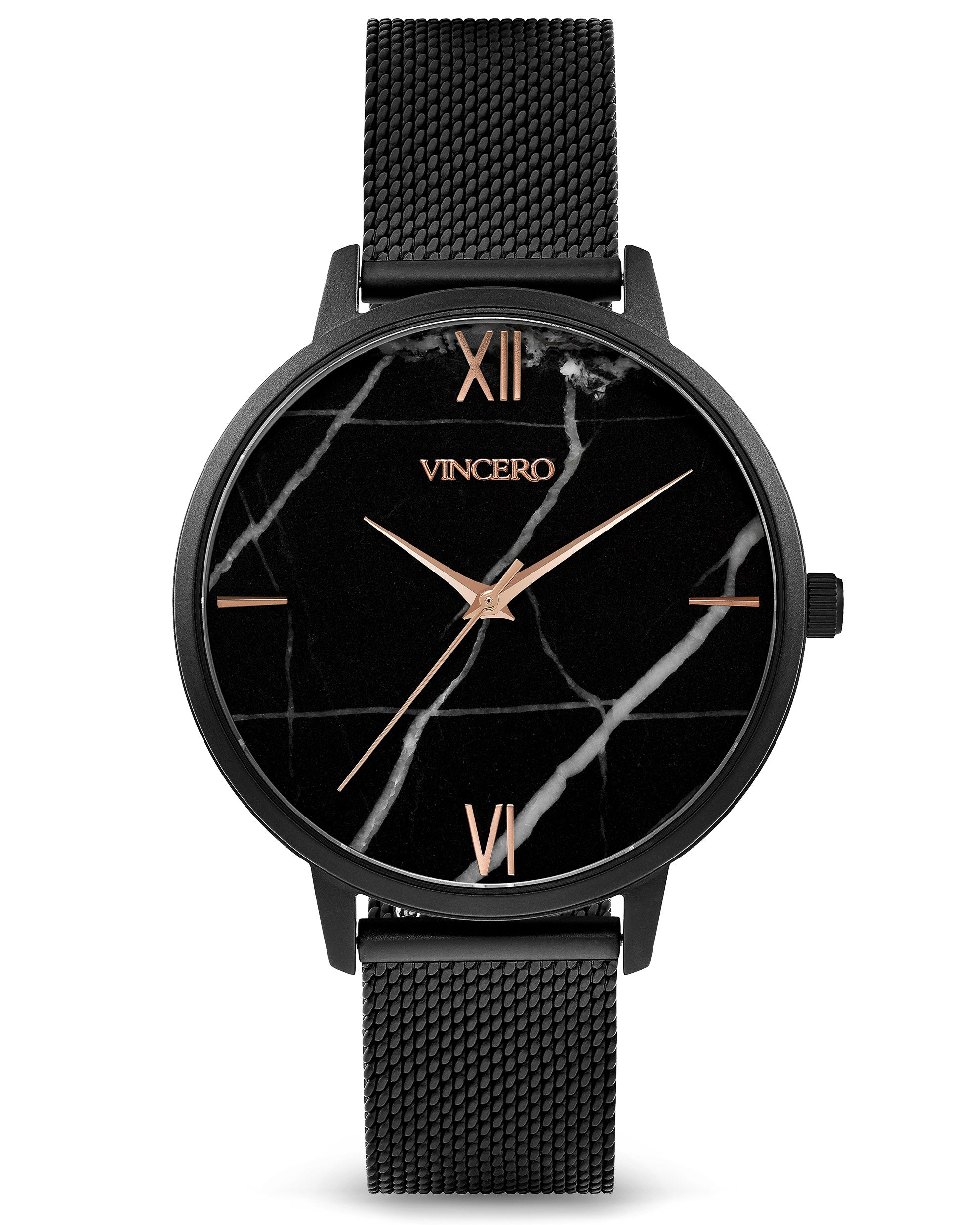 Black 316L Stainless Steel Mesh Strap Black Italian Marble Watch Face Black Case Clasp Rose Gold Accents