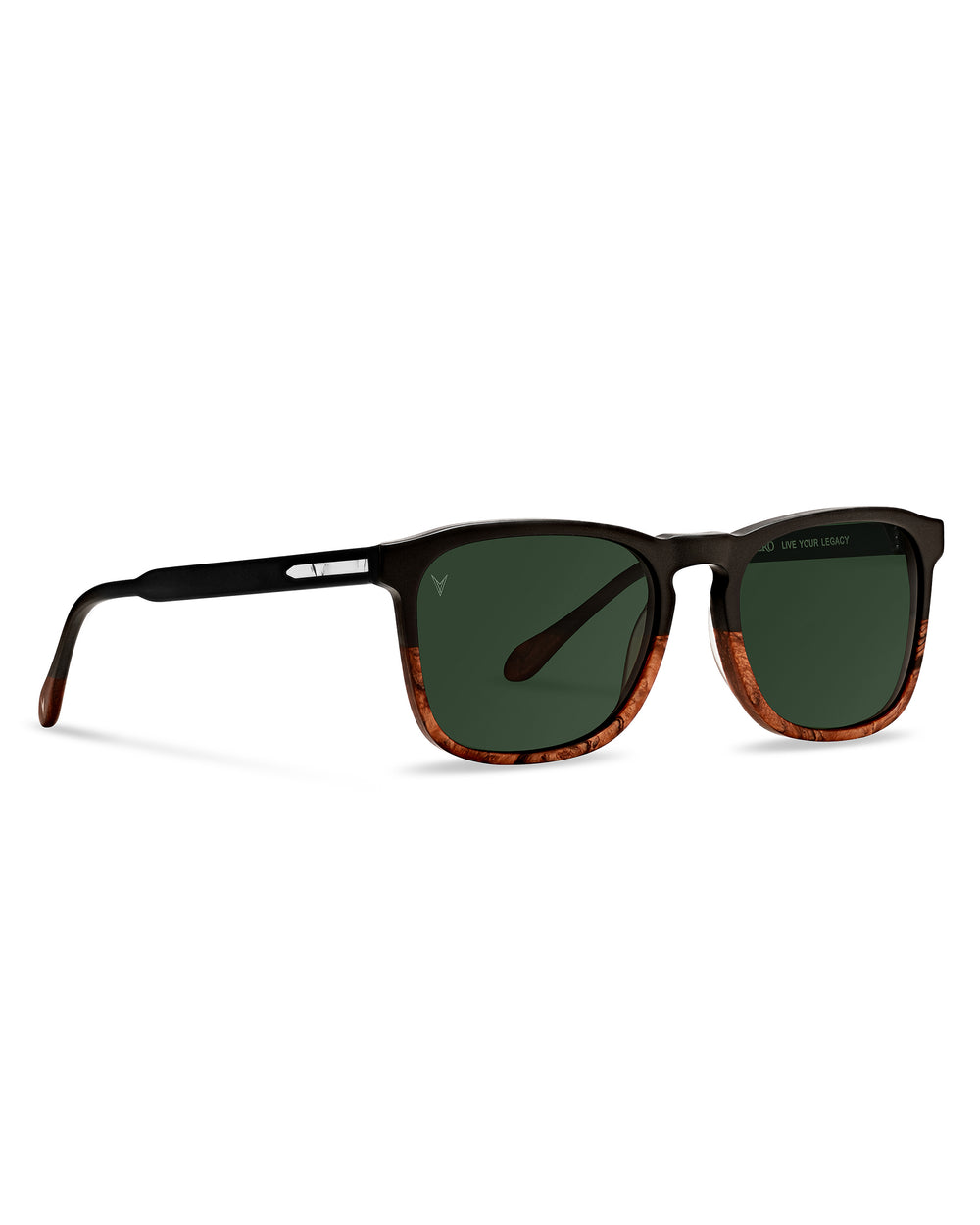 Men's Luxury Matte Black/Walnut Midway Sunglasses