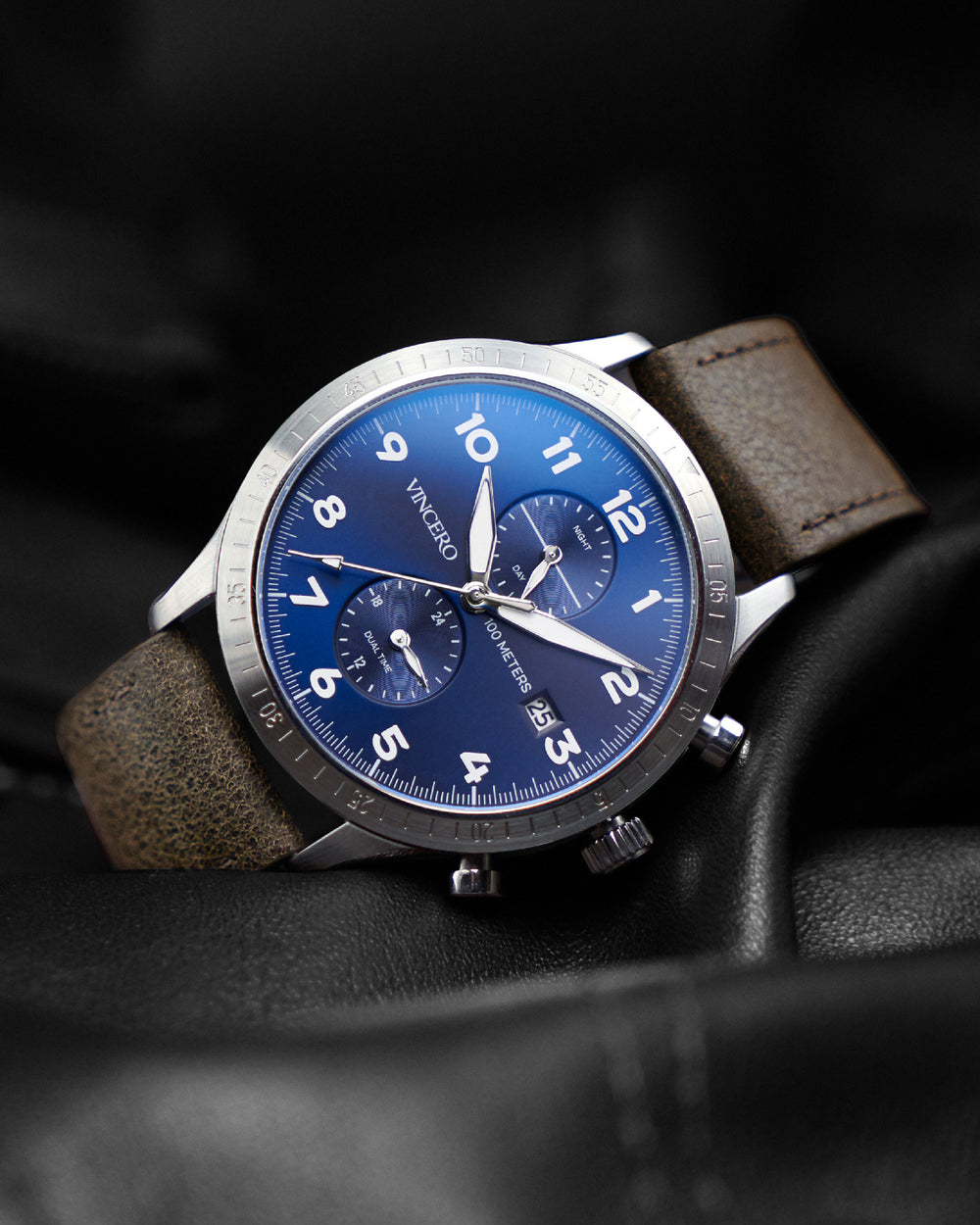 Altitude Brown Italian Leather Strap Blue Watch Face Silver Case Clasp White Accents