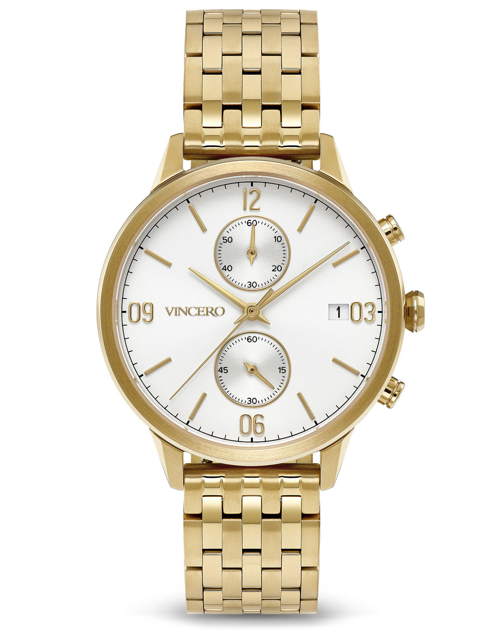 The Reign Gold 316L Stainless Steel Strap White Watch Face Gold Case Clasp Gold Accents