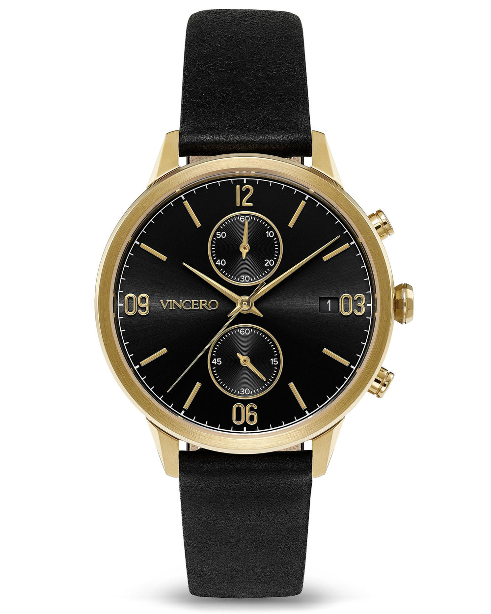 The Reign Jet Black Italian Leather Strap Black Watch Face Gold Case Clasp Rose Gold Accents