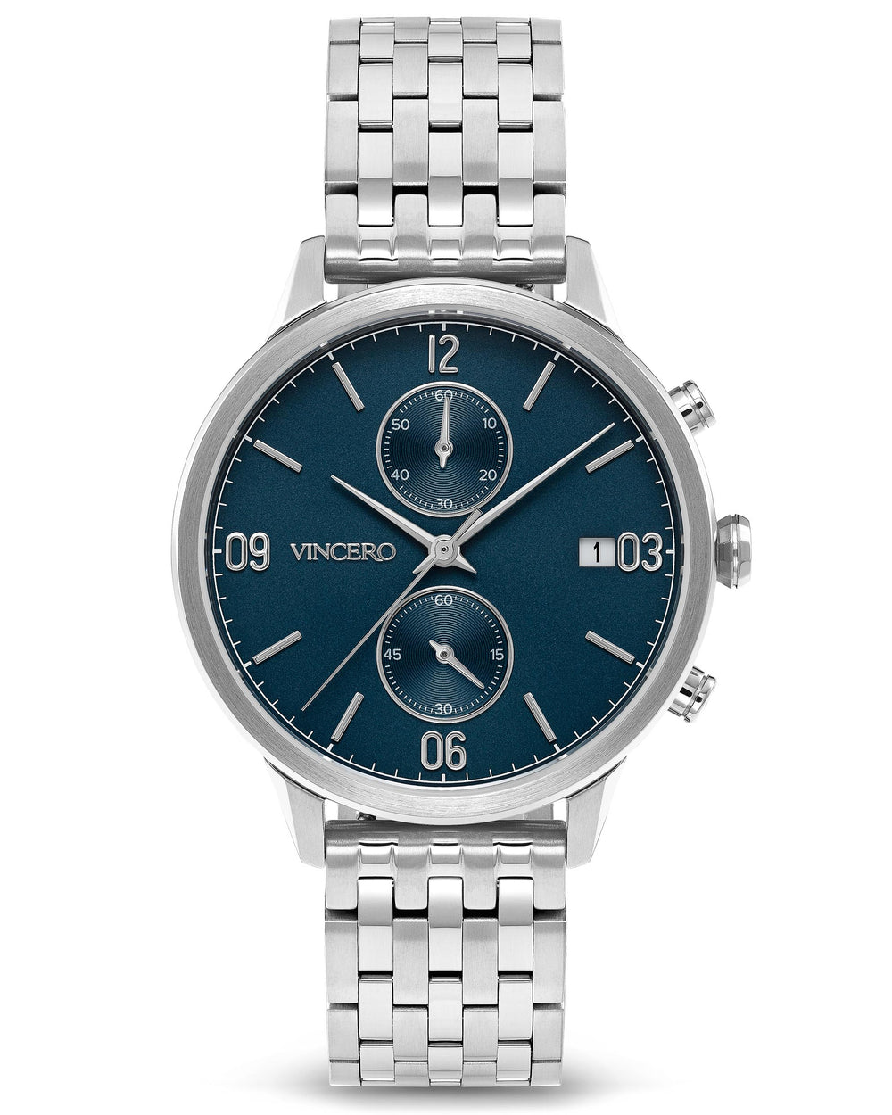 The Reign Silver 316L Stainless Steel Strap Blue Watch Face Silver Case Clasp Silver Accents