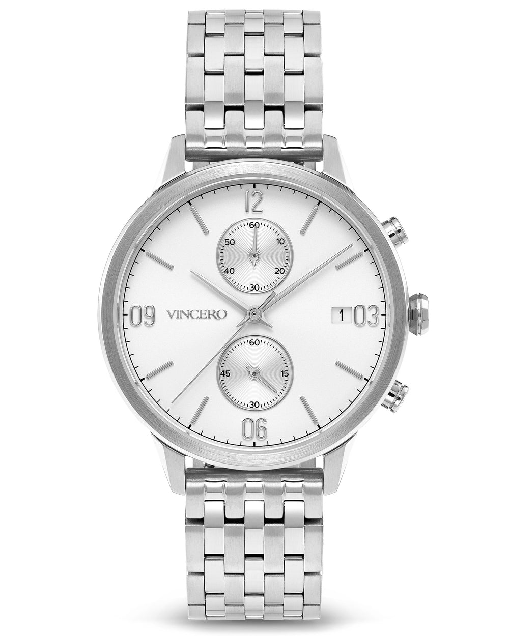 The Reign Silver 316L Stainless Steel Strap White Watch Face Silver Case Clasp Silver Accents