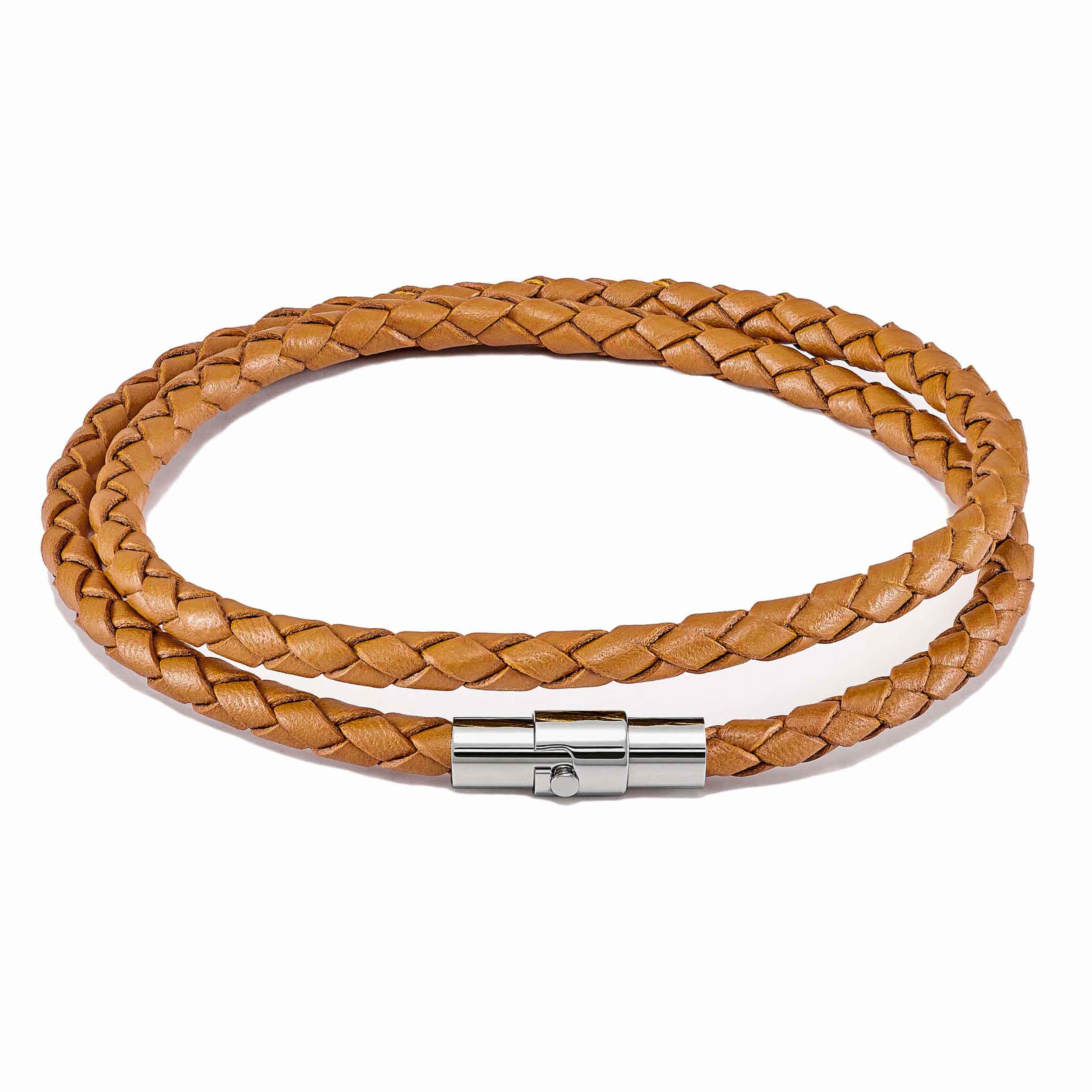 Men's Luxury Tan Croc Italian Leather Double Braided Bracelet Strap Silver Clasp