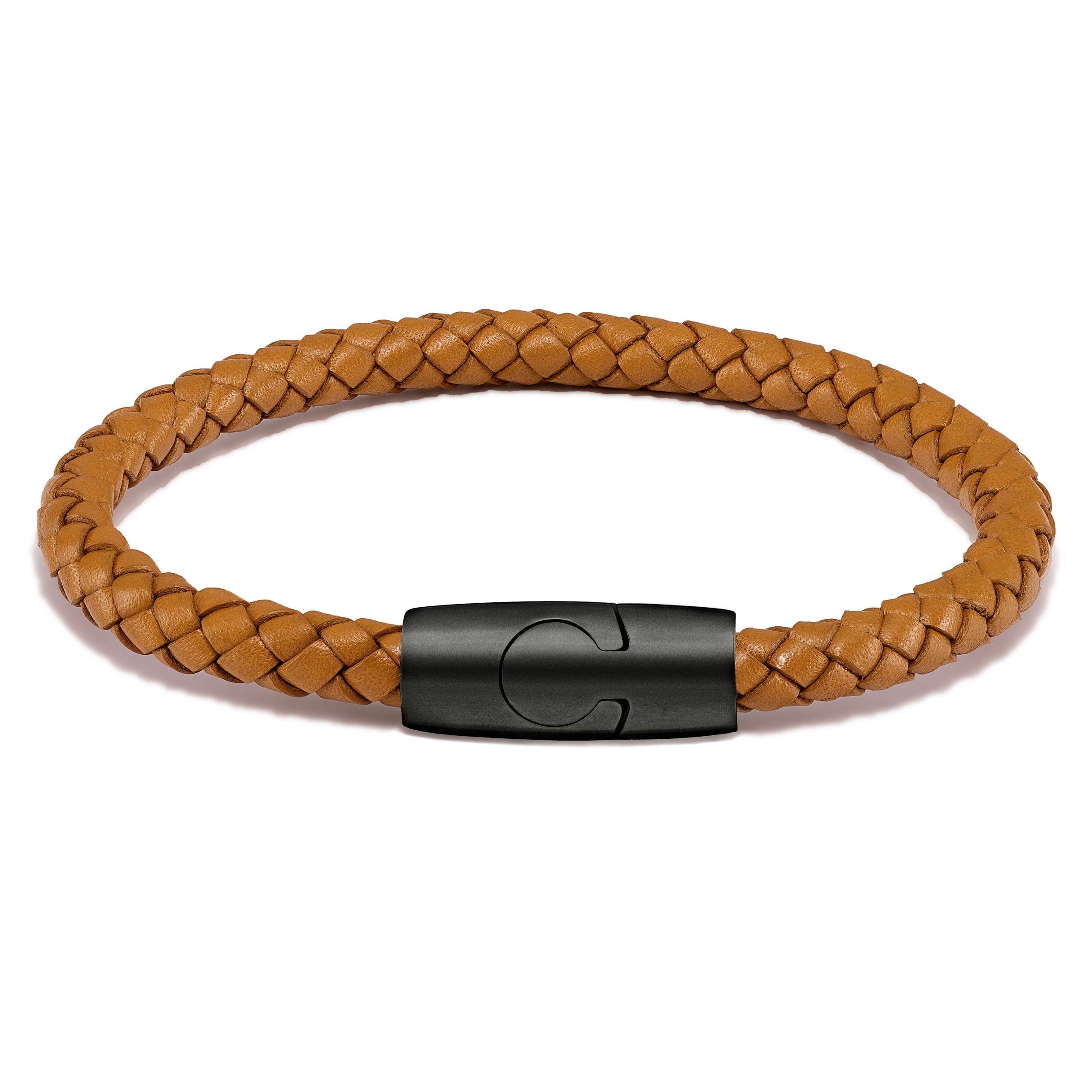 Men's Luxury Tan Croc Italian Leather Single Braided Bracelet Strap Matte Black Clasp