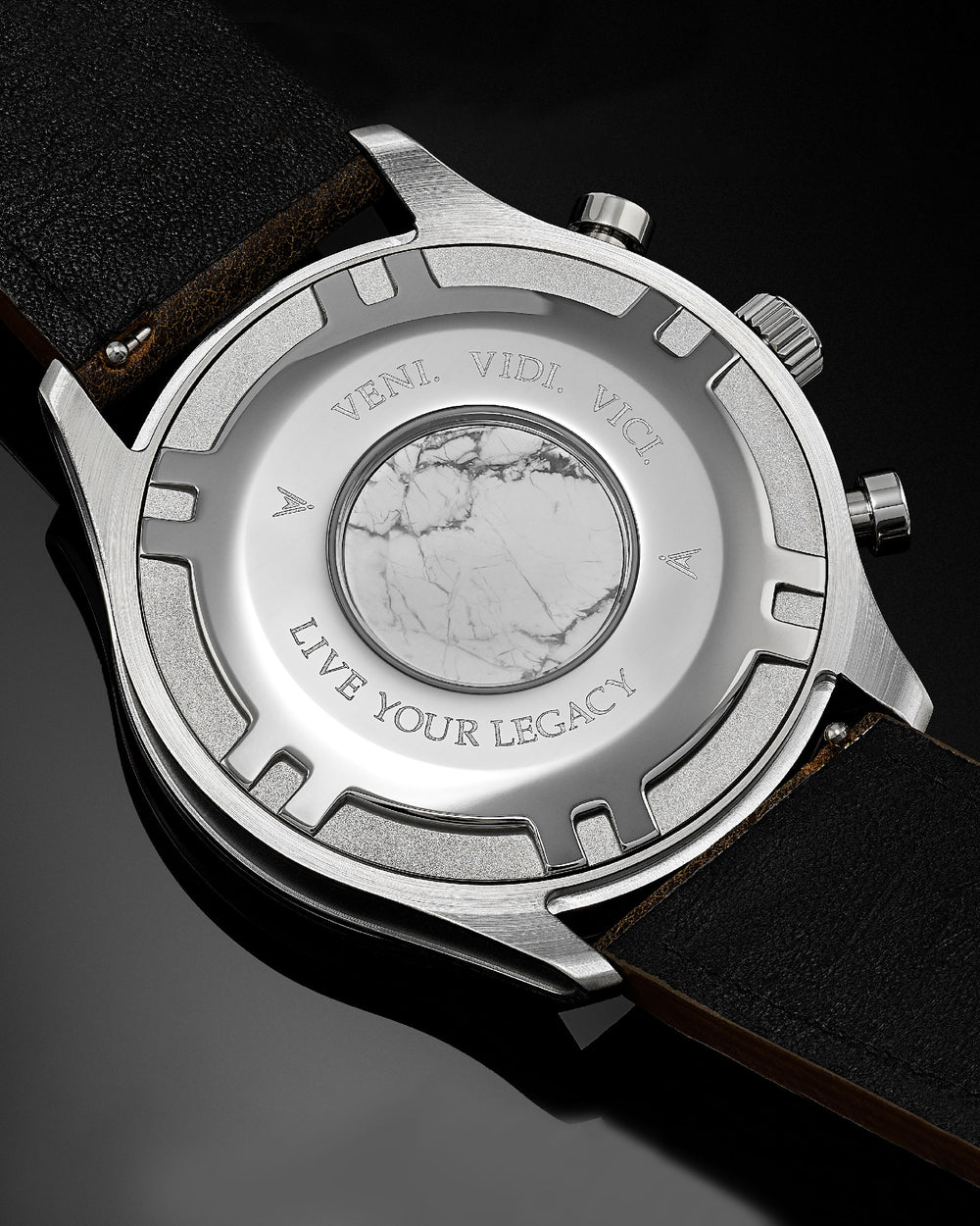 Altitude Italian Marble and 316L Stainless Steel Caseback with Veni Vidi Vici Live Your Legacy Engraving
