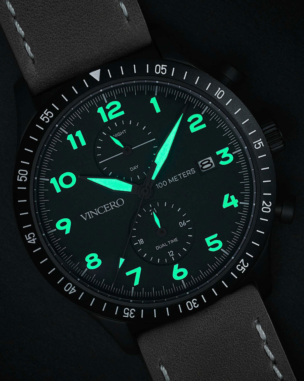 Men's Luxury Altitude Pilot Watch Desert Gray Italian Leather Strap Band Black Watch Face Matte Black Clasp