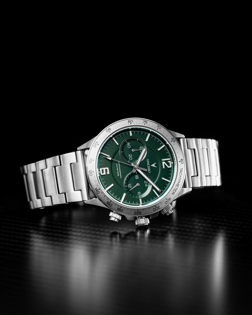 Apex Silver 316L Stainless Steel Strap Green Watch Face Silver Case Clasp Silver and White Accents