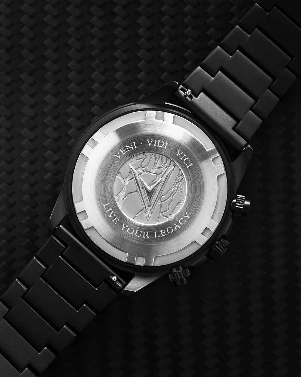 Apex 316L Stainless Steel Caseback with Veni Vidi Vici Live Your Legacy Engraving