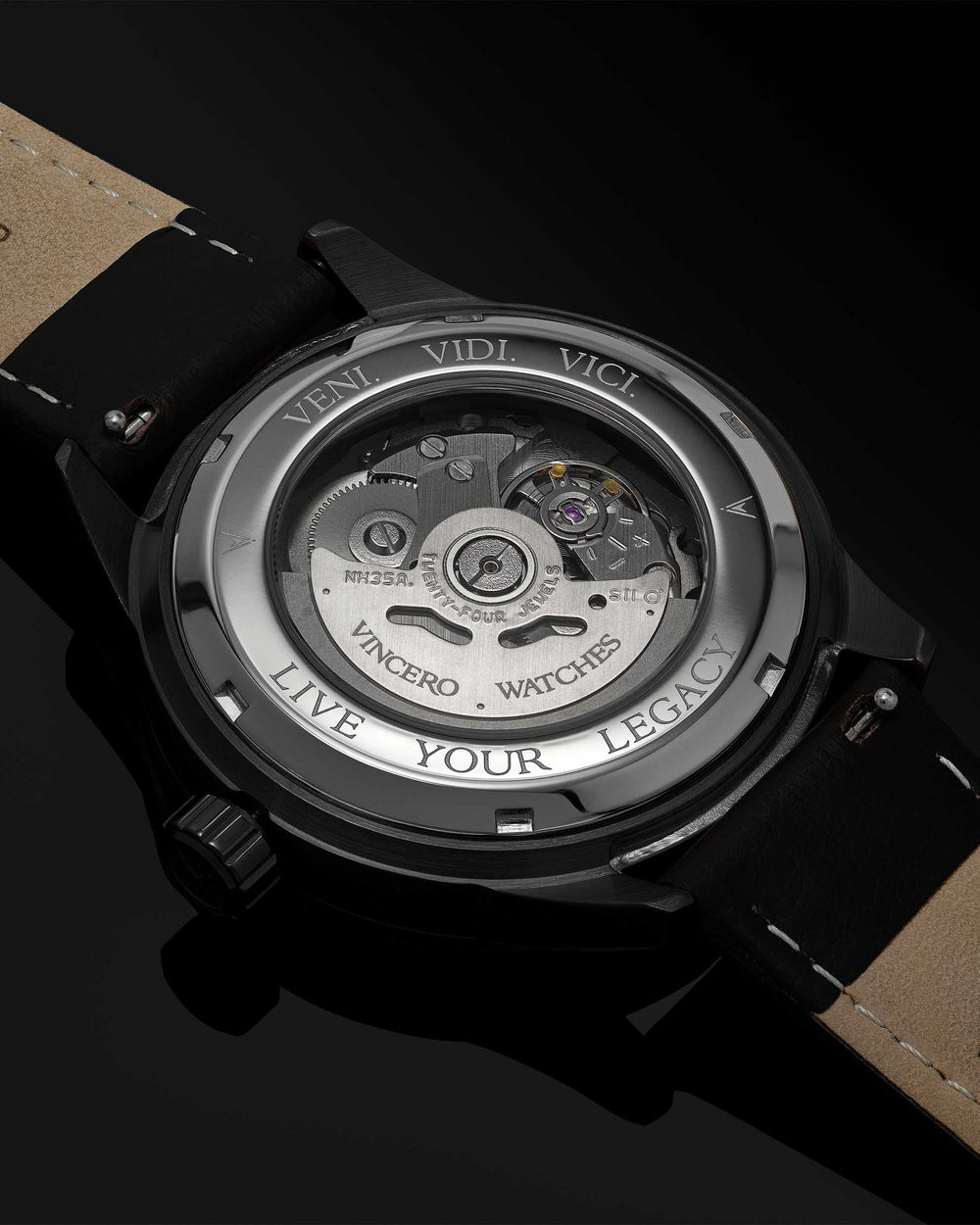 Icon Automatic 316L Stainless Steel Caseback with Veni Vidi Vici Live Your Legacy Engraving