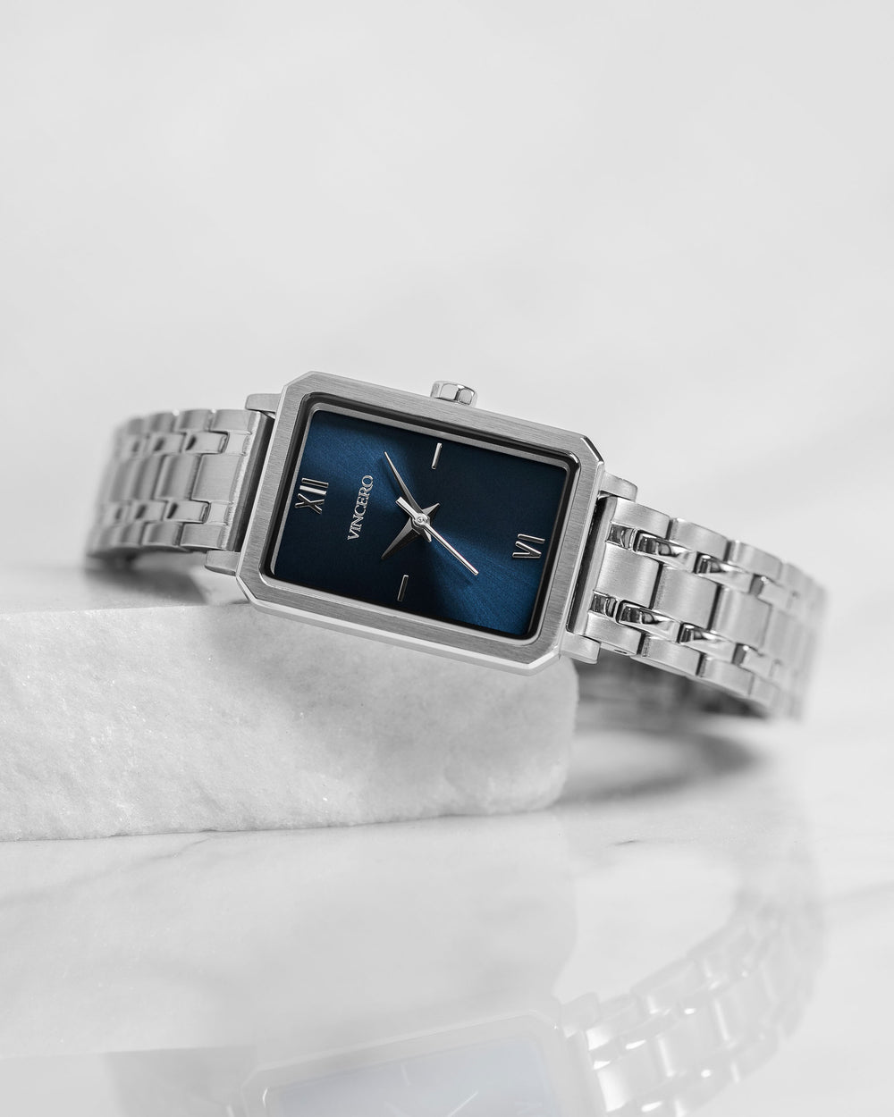 Ava Petite Brushed Silver 316L Stainless Steel Strap Blue Watch Face Brushed Silver Case Clasp Silver Accents