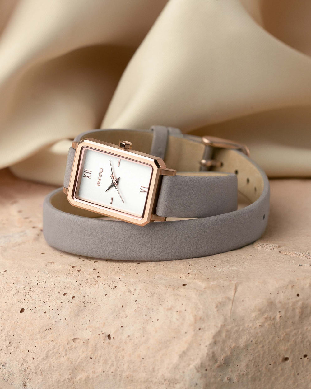 Ava Petite Mist Italian Leather Double Bracelet Strap White Watch Face Silver Case Clasp Rose Gold Accents