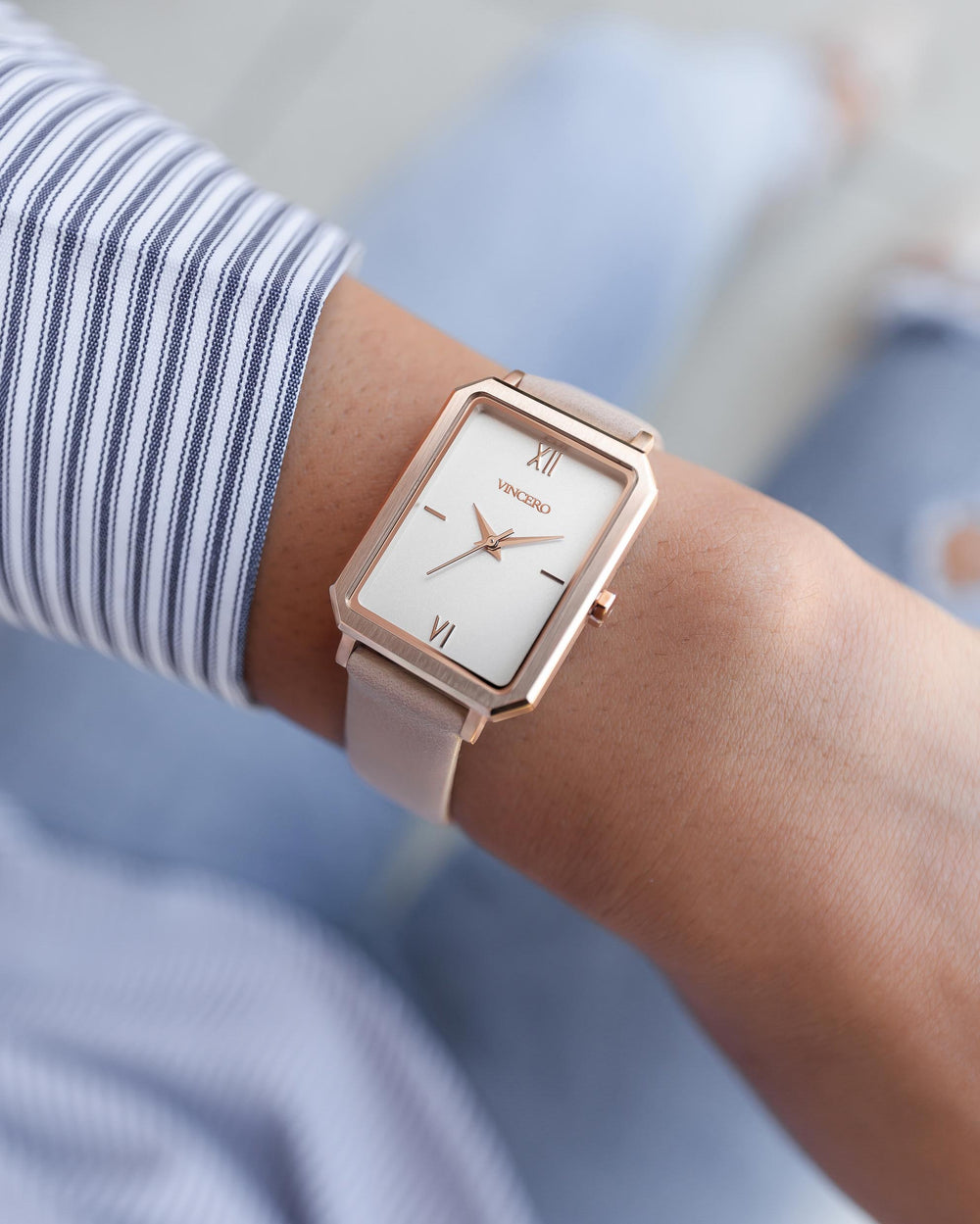 Women's Luxury Ava Watch Brushed Rose Gold Stainless Steel Top Grain Italian Leather Strap Matte White Watch Face