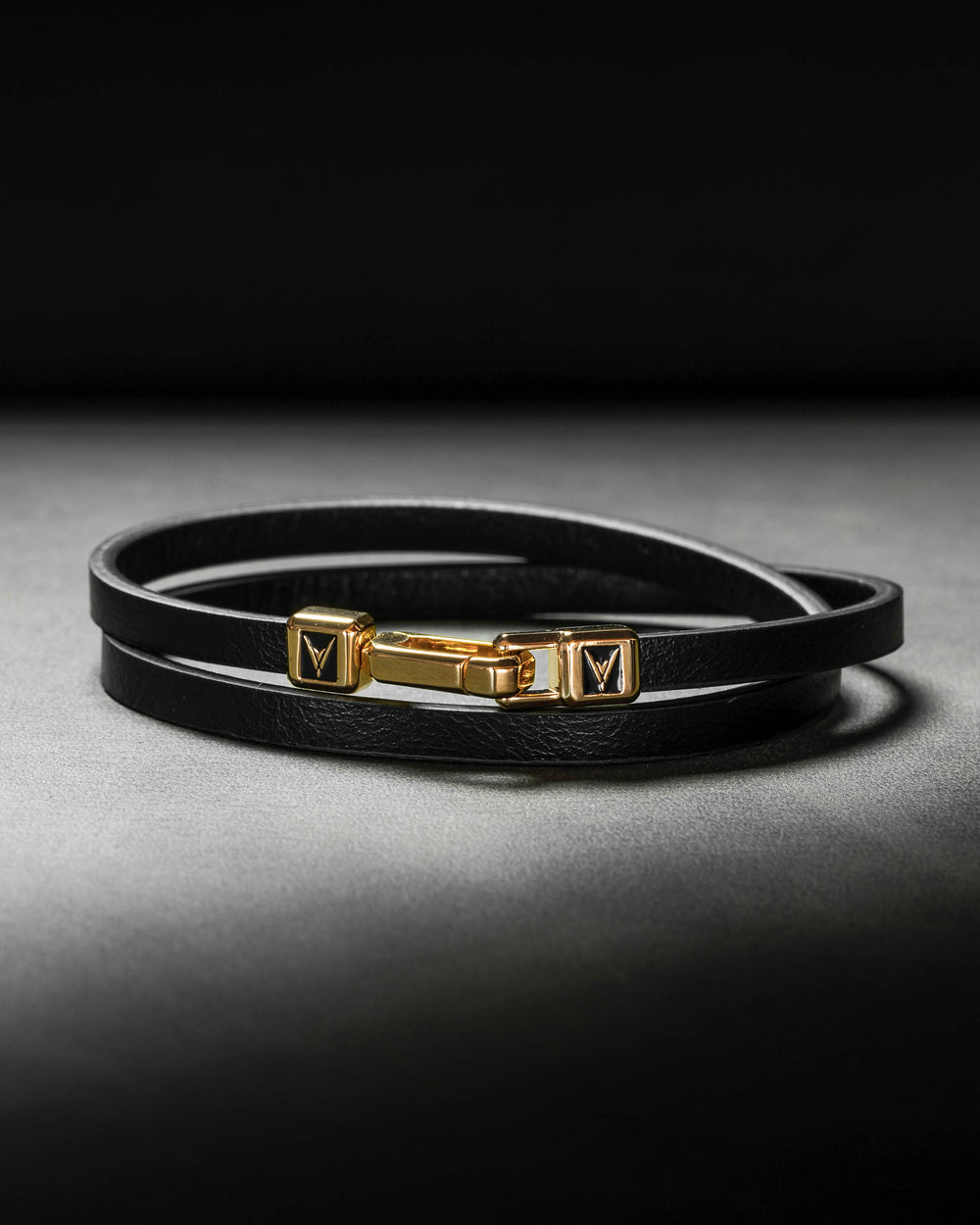 Men's Luxury Black Italian Leather Double Bracelet Strap with a Gold Magnetic Closure