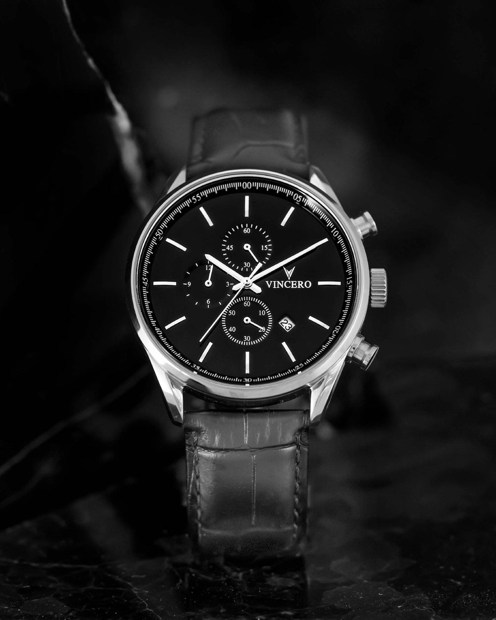 Chrono S 40mm Black Croc Italian Leather Strap Black Watch Face Silver Case Clasp Silver Accents