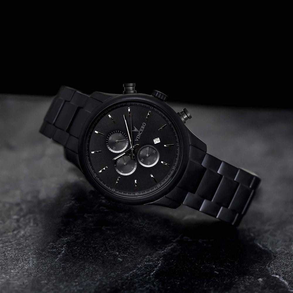 Men's Luxury Chrono S 40mm Chronograph Watch Matte Black Stainless Steel Strap Band Black Watch Face Matte Black Case Clasp