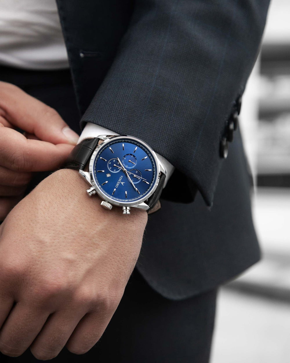 Chrono S Black Croc Italian Leather Strap Blue Watch Face Silver Case Clasp Silver Accents