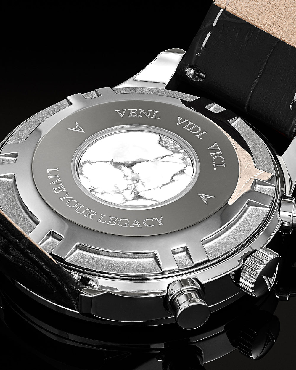 Chrono S 40mm Italian Marble and 316L Stainless Steel Caseback with Veni Vidi Vici Live Your Legacy Engraving