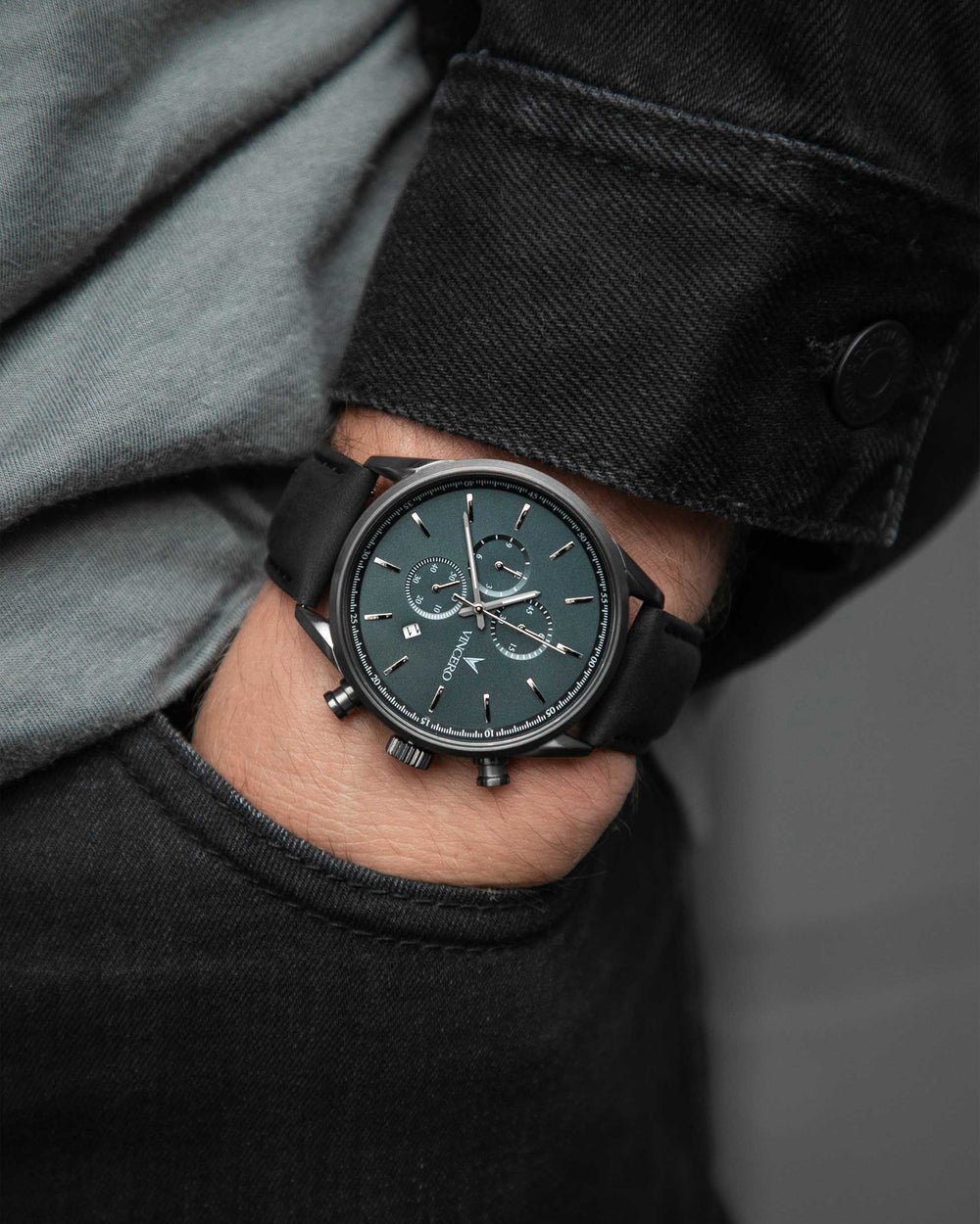 Chrono S Black Italian Leather Strap Slate Blue Watch Face Gunmetal Case Clasp Silver Accents
