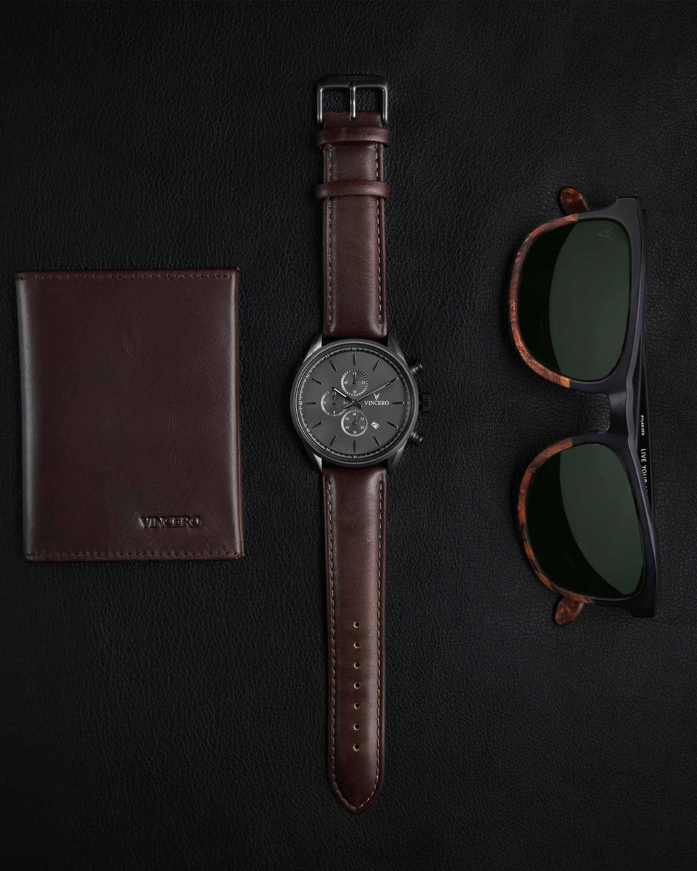 Chrono S Walnut Italian Leather Strap Gunmetal Watch Face Gunmetal Case Clasp Silver Accents