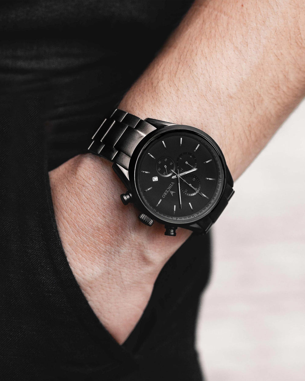 Chrono S Black 316L Stainless Steel Strap Matte Black Watch Face Matte Black Case Clasp Silver Accents