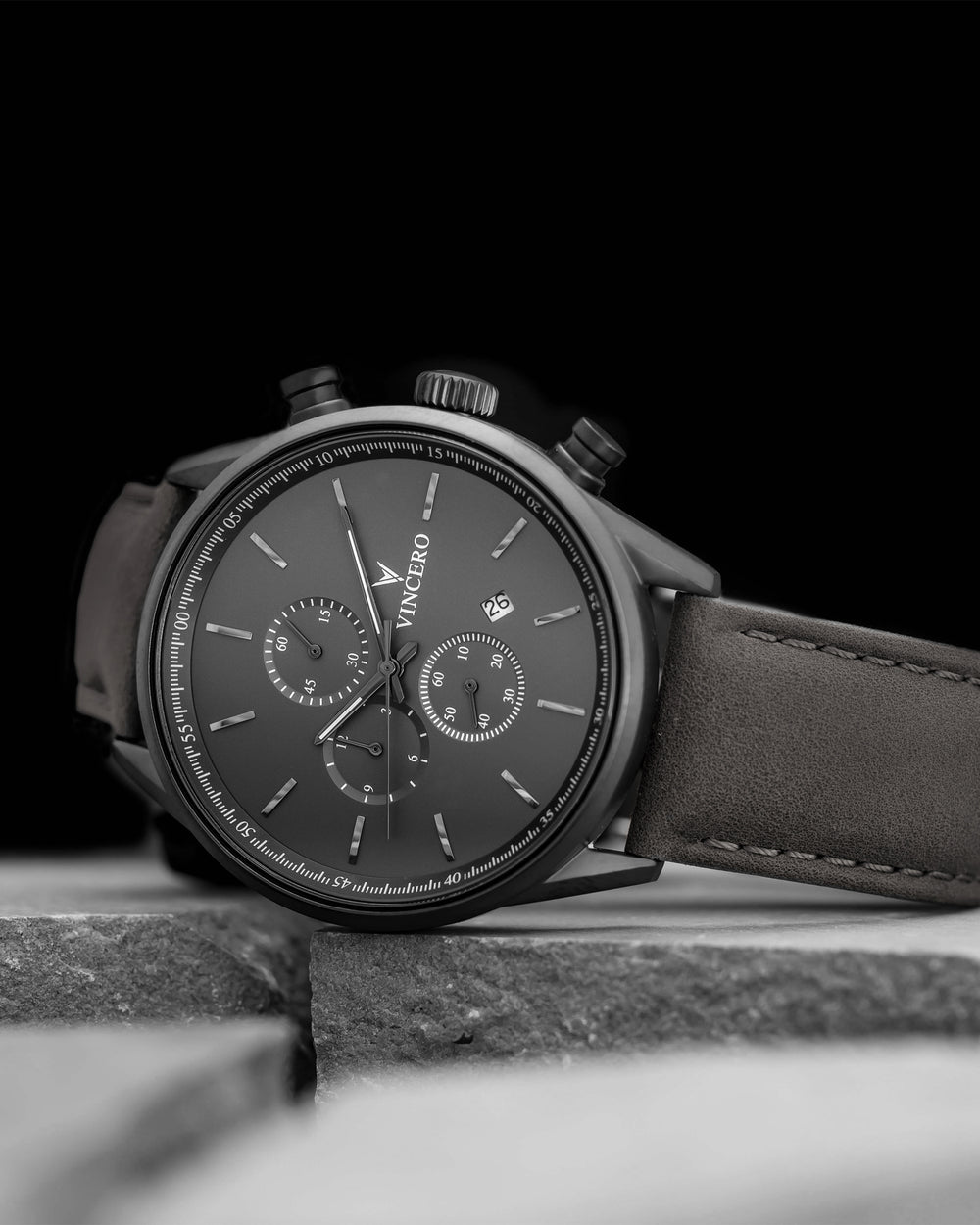 Chrono S Brown Italian Leather Strap Matte Black Watch Face Matte Black Case Clasp Black Accents