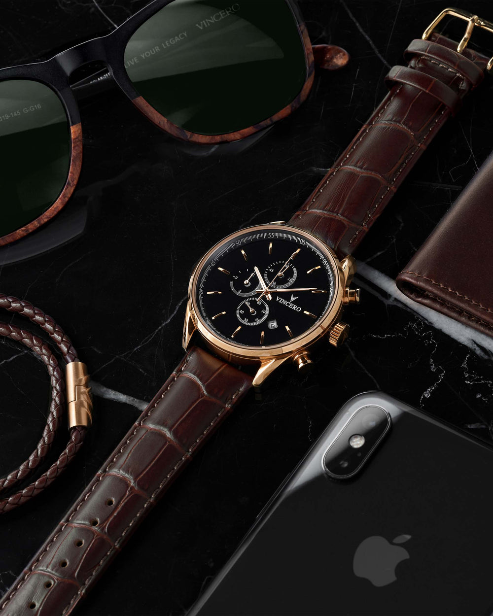 Chrono S Brown Croc Italian Leather Strap Black Watch Face Rose Gold Case Clasp Rose Gold Accents