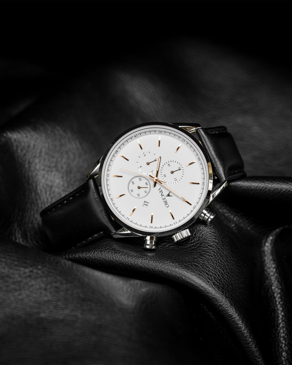 Chrono S Black Italian Leather Strap White Watch Face Silver Case Clasp Rose Gold Accents